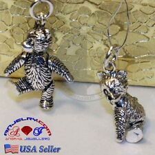 VINTAGE 925 STERLING SILVER TEDDY BEAR CHARM PENDANT MOVABLE ARMS GIFT BOX VS1