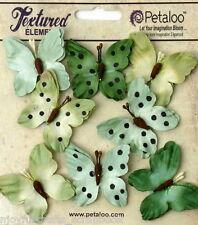 BUTTERFLY GREENS Mix 8 Teastained Paper 32-33mm across Darjeeling Petaloo Ver