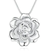 925 Sterling Silver Flower Steric Romantic Pendant for lady Women Jewelry Gifts