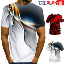 Men Short Sleeve 3D Ripple /Swirl Print T Shirt Summer Casual Shirts Tee Tops