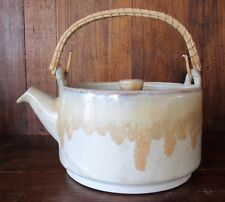 "Stoneware Brownish Drip Glaze Tea Pot with Lid Bamboo Handle 6 1/4"" base diam"