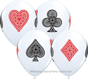 """5 Casino Playing Card Helium/Air 11"""" Balloons Poker Birthday Party Decorations"""