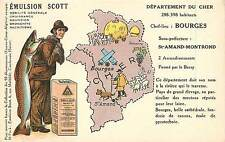 EMULSION SCOTT,Département du Cher,Bourges, carte Publicitaire.(38)