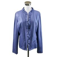 Chicos 1 M Blazer Jacket Lilac Purple Pebbled Luxe Rachelle Ruffle Washable NWT