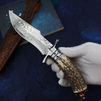 DAMASCUS SURVIVAL OUTDOOR CAMPING HUNTING KNIFE FIXED BLADE W/ SHEATH ANTLER
