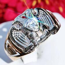 Masonic double headed eagle 14k multi tone gold 0.44ct diamond ring 7.2gr #N1367