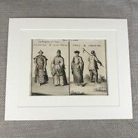 Antico Incisione Originale Stampa 18th Secolo Nathaniel Parr Cinese Imperatore