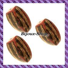 4 Perle rettangolo Cocco torchon 35mm rosso