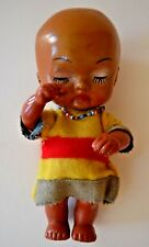 "Vintage Ethnic Sad or Sleeping Rubber 6.5"" Baby Doll Made in Hong Kong"