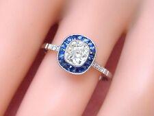 ART DECO .66ct OLD MINE CUSHION DIAMOND SAPPHIRE HALO PLATINUM ENGAGEMENT RING