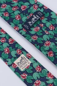 HERMES Paris Blue/Green/Red Lily Pads Floral 100% Silk Necktie 7490 IA