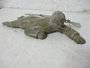 "Vtg Eskimo crawling hunter w/gun signed Inuit Art Carving soapstone 9"" ~8 of 10"