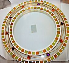 GLASS MOSAIC CANDLE PLATE / HOLDER - ORANGE & LIME - 26CM