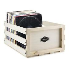 AUNA VINYL RECORD CASE STORAGE MEDIA WOODEN RACK BOX RETRO DJ STACKABLE