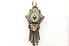 Antique Pendant 14K Engraved Enameled Seed Pearl Tassels Lovely Peacock Patina