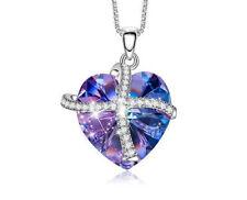 Love Herz Halskette Collier mit Swarovski® Kristallen Silber 18K Weißgold pl.