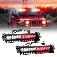 Led Emergency Warning lights Red/White Visor strobe light Bar Traffic Advisor 2X