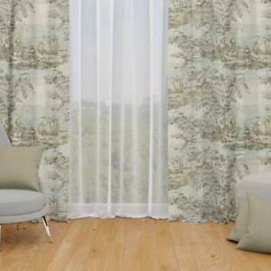 Carolina Linens Tab Top Curtains in Bosporus Flax Blue, Ivory, Green Toile