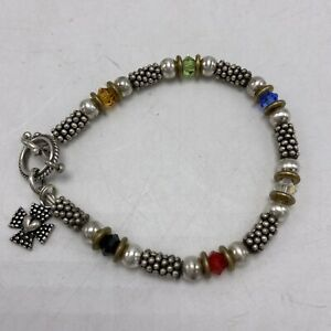 Sterling Silver Multi Color Stone Toggle Clasp Bracelet Marked 925 Brass Spacers
