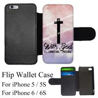 God Cross Religious Quote Custom Card Holder Flip Wallet Case iPhone 5/5S-6/6S