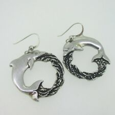 Circle Dangle Earrings Sterling Silver Large Dolphin