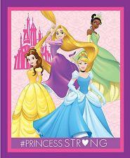 Disney Princess Quilt top Panel Fabric Dream Big Cinderella Belle Rapunsel Tiana