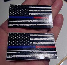 Mini Magnet Thin Blue Red Line FireFighter Police respect flag Vinyl   2.5 X 1.5