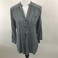 Stitch Fix Fun 2 Long Sleeve Pop Over Button Up Floral Blue Gray Blouse (A24)