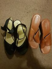 Black Leather Wedge Sandals. Brown leather Sandals Women's SIZE 10