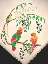 Vintage Scarf Hand Painted Parrots Birds Souvenir Of Germany 1957 Nip