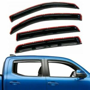 For 2016-2021 Toyota Tacoma 4pc Smoke Window Sun Rain Visors Wind Guard Crew Cab