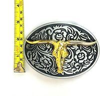 NEW Gold Bull Skull Belt Buckle Big SILVER Metal Western Cowboy Floral