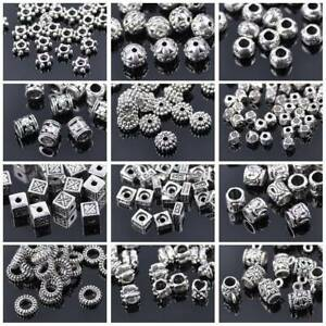 50pcs Tibetan Silver Metal Loose Spacer Craft Beads lot Wholesale Jewelry Making