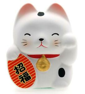 Maneki Neko Feng Shui Lucky Cat – White for health 6.7cm