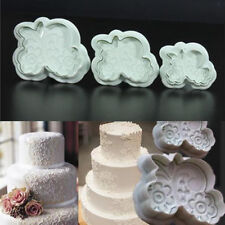 3pcs Rose Lace Mold Fondant Cake Cookies Plunger Cutter Sugarcraft Decor Mould