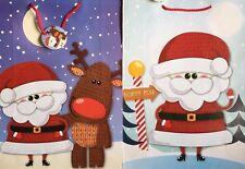 2 x Santa Cute Christmas Gift Bags 45cm x 33cm & Tags Presents Sacks