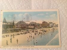 Old Orchard Maine Public Bath House & Beach Antique Postcard . From Estate