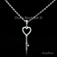 "STUNNING HEART KEY AAA CUBIC ZIRCONIA 925 STERLING SILVER 16"" NECKLACE & PENDANT"