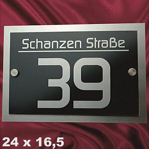 Hausnummer Anthrazit V2A Edelstahl Design Hausnummernschild Lasergravur RAL 7016