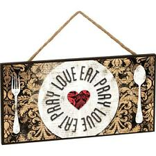 """EAT PRAY LOVE Wooden Hanging Sign, 10"""" x 5"""""""