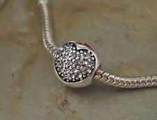 Pave Bead Element Kugel Strass Herz Farbe Silber -plattiert für Armband 0002