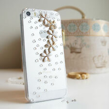 *SALE* 3D Flower Bling Gem Diamond Crystal Case Cover For iPhone 4 4s 5c