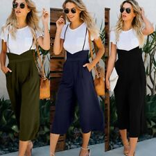 Women High Waisted Dungarees Jumpsuits Pants Overalls Suspender Leisure Trousers