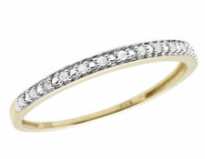 10k Yellow Gold One Row Real Diamond Engagement Wedding Ring Band 0.05ct 2mm