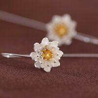 925 Sterling Silber Ohrhänger Ohrstecker Ohrringe Blume Lotus Blüte Stab Gänse