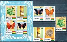 GHANA 1968 TOBACCO & BUTTERFLIES SET + S/S SC# 331-35A VF MNH ** neuf (DEL02)
