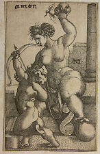 MONOGRAMMIST ACH `VENUS MIT DEM APFEL, AMOR` KUPFERSTICH, ~1530, RARISSIMUM