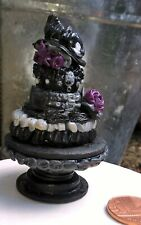 More details for dolls house miniature gothic black three tier wedding cake + stand 1/12  ooak