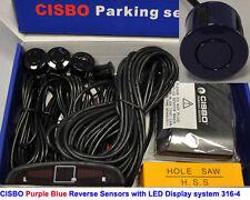 Purple Blue Colour Reverse Parking 4 Sensor Kit Audio Buzzer Alarm LED Display