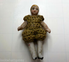 "Vintage Miniature Bisque doll 1 1/2""H painted hair jointed"